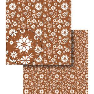 Papel-Scrapbook-Dupla-Face-Flores-Marrom-e-Branca-LSCDS-011---Litocart