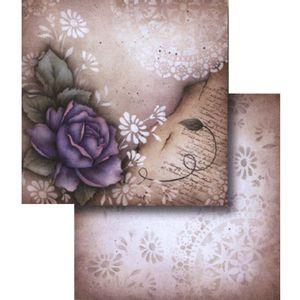 Papel-Scrapbook-Dupla-Face-Flor-Roxa-com-Vintage-LSCD-333---Litocart