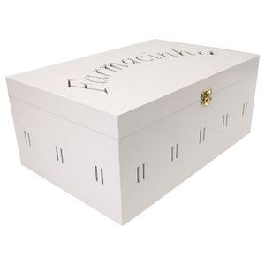 Caixa-Farmacinha-Escrita-com-Passa-Fita-30x20x13-Pintura-Branca---MDF-a-Laser