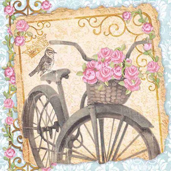 Papel-Scrap-Decor-Folha-Simples-15x15-Bicicleta-com-Flores-SDSXV-025---Litoarte