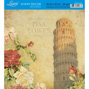 Papel-Scrap-Decor-Folha-Simples-20x20-Pisa-Tower-Italia-SDSXX-037---Litoarte