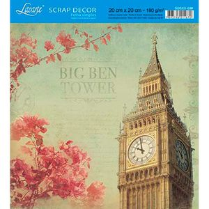 Papel-Scrap-Decor-Folha-Simples-20x20-Relogio-Big-Ben-SDSXX-038---Litoarte