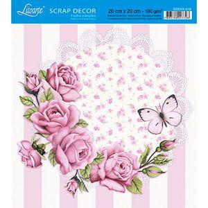 Papel-Scrap-Decor-Folha-Simples-20x20-Rosas-e-Borboleta-SDSXX-018---Litoarte