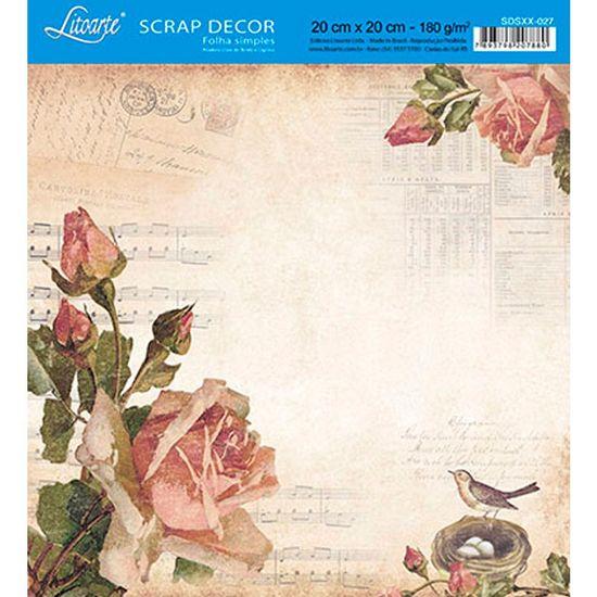 Papel-Scrap-Decor-Folha-Simples-20x20-Rosas-Vintage-SDSXX-027---Litoarte