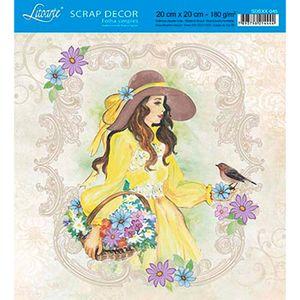 Papel-Scrap-Decor-Folha-Simples-20x20-Mulher-com-Chapeu-SDSXX-045---Litoarte
