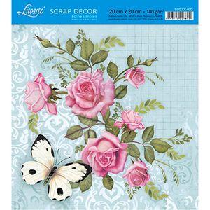 Papel-Scrap-Decor-Folha-Simples-20x20-Rosas-e-Borboleta-SDSXX-023---Litoarte