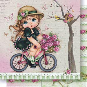 Papel-Scrapbook-Dupla-Face-Menina-na-Bicicleta-SD-419---Litoarte
