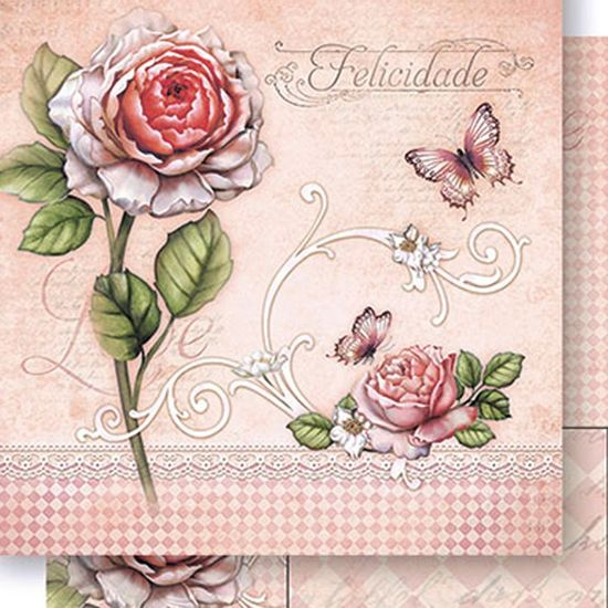Papel-Scrapbook-Dupla-Face-Rosa-e-Felicidades-SD-431---Litoarte