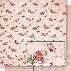 Papel-Scrapbook-Dupla-Face-Rosas-e-Borboletas-SD-432---Litoarte