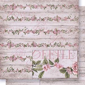 Papel-Scrapbook-Dupla-Face-Rosas-fundo-Madeira-SD-406---Litoarte