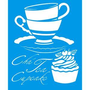 Stencil-Cha-Tea-Cupcake-17x21-STM-170---Litoarte