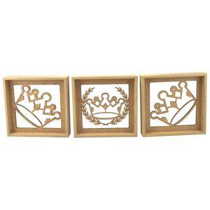 Trio-de-Quadros-Decorativo-3D-Coroa-e-Ramos---MDF-a-Laser