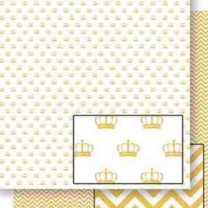 Papel-Scrapbook-Dupla-Face-Coroas-Douradas-SD-453---Litoarte