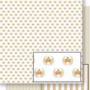 Papel-Scrapbook-Dupla-Face-Coroas-e-Ramos-Dourado-SD-455---Litoarte