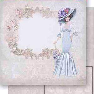 Papel-Scrapbook-Dupla-Face-Dama-de-Vestido-Azul-SD-456---Litoarte