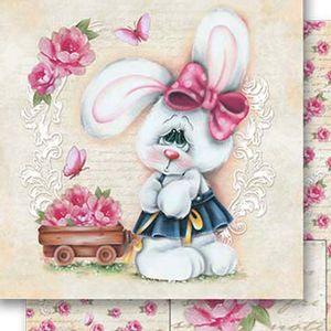 Papel-Scrapbook-Dupla-Face-Coelho-e-Rosas-SD-521---Litoarte