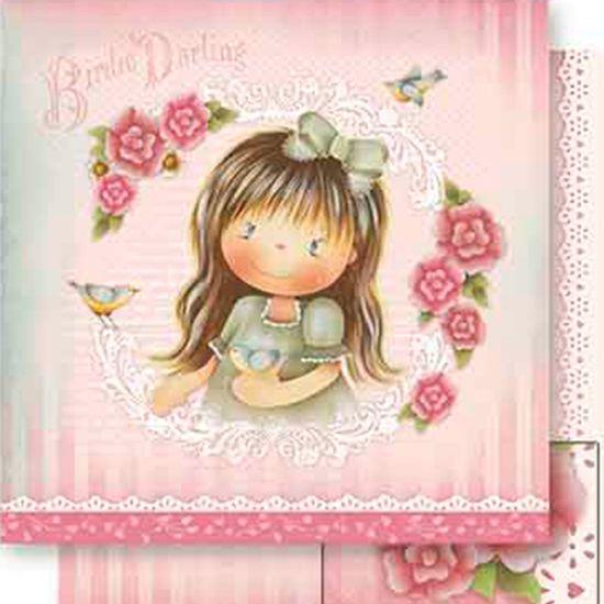 Papel-Scrapbook-Dupla-Face-Menina-com-Passaro-SD-556---Litoarte