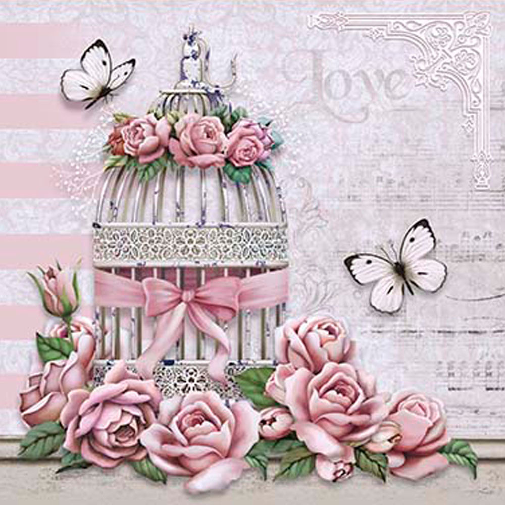 Papel decoupage adesiva 20x20 gaiola com rosas da20 056 for Papel decorado rosa