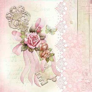 Papel-Decoupage-Adesiva-20X20-Chave-com-Rosas-DA20-060---Litoarte