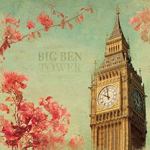 Papel-Decoupage-Adesiva-15x15-Big-Ben-Tower-DAXV-057---Litoarte