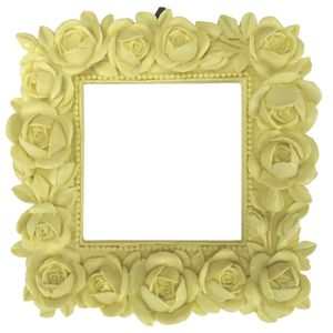 Moldura-Quadrada-Botoes-de-Rosas-12x12-Amarelo---Resina