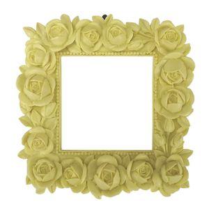 Moldura-Quadrada-Botoes-de-Rosas-14x14-Amarela---Resina