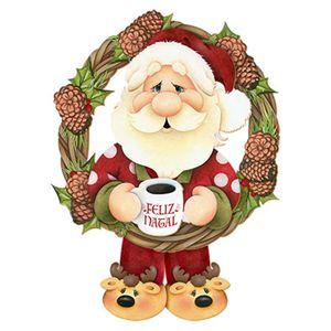 Placa-em-MDF-Natal-Papai-Noel-e-Guirlanda-DHN-009---Litoarte