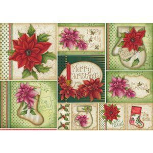 Papel-Decoupage-Natal-Poinsetias-Rosas-e-Vermelhas-PDN-103---Litoarte