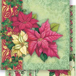 Papel-Scrapbook-Natal-Poinsetias-Vermelho-e-Amarelo-SDN-052---Litoarte