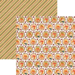 Papel-Scrapbook-Dupla-Face-Raposas-do-Outono-Selos-SDF685---Toke-e-Crie