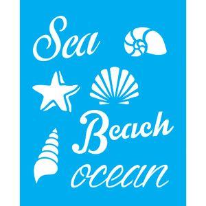 Stencil-para-Pintura-25X20cm-Sea-Beach-Ocean-LSG-063---Litocart
