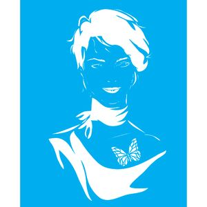 Stencil-para-Pintura-25X20cm-Mulher-Cabelo-Curto-LSG-085---Litocart