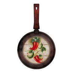 Placa-Decorativa-Frigideira-Pequena-Pimentas-311x18cm-DHPM5-096---Litoarte