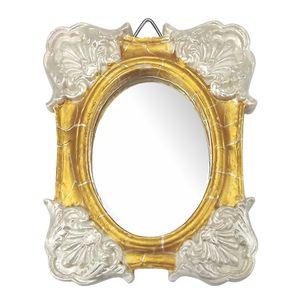 Moldura-Colonial-Cantoneira-e-Oval-com-Espelho-Dourado-e-Branco-Craquele-10x13cm---Resina