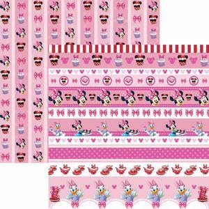 Papel-Scrapbook-Dupla-Face-305x305cm-Hora-da-Cha-com-a-Minnie-2-Faixas-SDFD-109---Toke-e-Crie