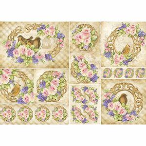 Papel-Decoupage-343x49cm-Rosas-Flores-Roxas-e-Passarinhos-PD1-074---Litoarte-by-Lili-Negrao