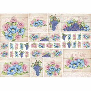 Papel-Decoupage-343x49cm-Rosas-Flores-Azuis-e-Uvas-com-Fundo-Madeira-PD1-076---Litoarte-by-Lili-Negrao