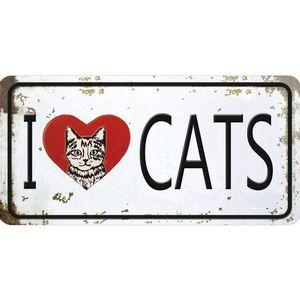 Placa-Decorativa-15x30cm-I-Love-Cats-LPD-057---Litocart