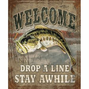 Placa-Decorativa-245x195cm-Welcome-Drop-a-Line-Stay-Awhile-LPMC-085---Litocart