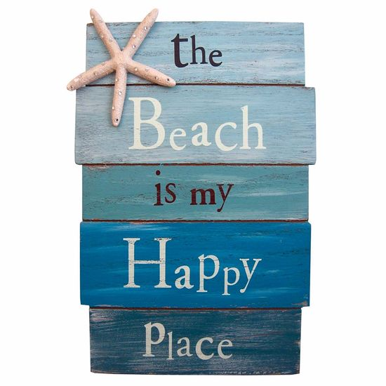 Placa-Decorativa-32x215cm-The-Beach-is-my-Happy-Place-LPQM-023---Litocart