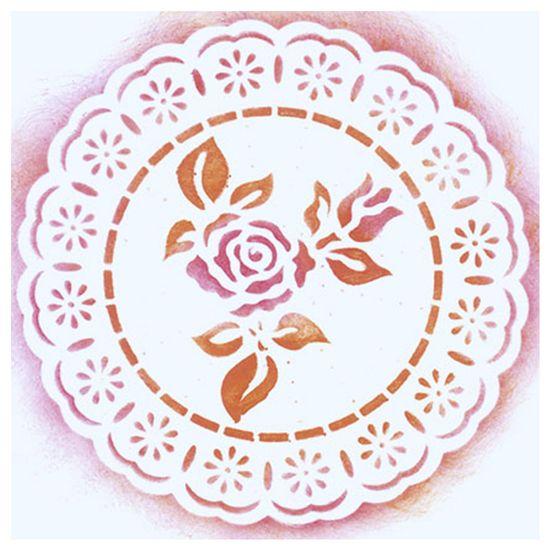 Stencil-para-Pintura-Simples-14X14cm-Rendado-Redondo-Rosa-STA-014---Litoarte