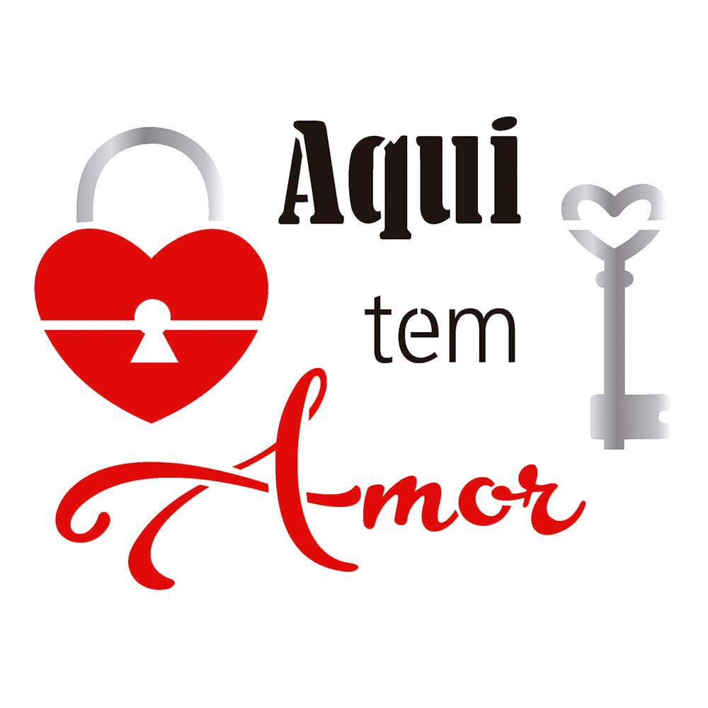 Stencil Opa 2278 20x25cm Para Pintura Simples Frase Aqui Tem Amor  ~ Frases De Limpeza Na Cozinha