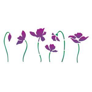 Estencil-OPA2225-Pintura-Simples-10X30-Flor-Papoulas
