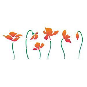 Estencil-OPA2256-Pintura-Simples-17x42-Flores-Papoulas