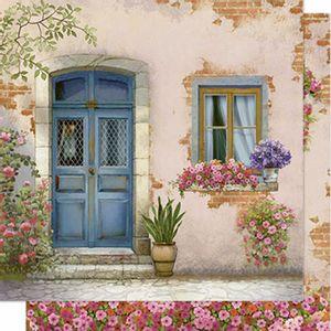 Papel-Scrapbook-Litoarte-SD-608-Dupla-Face-305X305cm-Porta-e-Janela-com-Flores