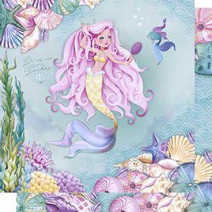 Papel-Scrapbook-Litoarte-SD-614-Dupla-Face-305X305cm-Sereia-de-Cabelo-Rosa-com-Espelho