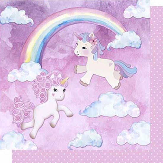 Papel-Scrapbook-Litoarte-SD-623-Dupla-Face-305X305cm-Unicornios-Arco-Iris-e-Poa-Rosa
