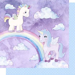 Papel-Scrapbook-Litoarte-SD-624-Dupla-Face-305X305cm-Unicornios-Arco-Iris-e-Poa-Azul
