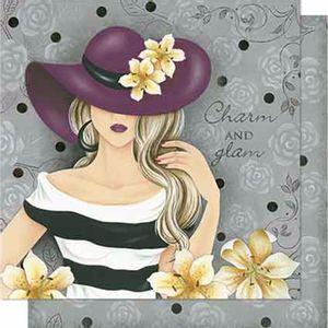 Papel-Scrapbook-Litoarte-SD-628-Dupla-Face-305X305cm-Dama-com-Chapeu-e-Rosas