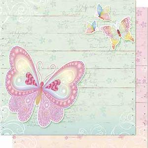 Papel-Scrapbook-Litoarte-SD-642-Dupla-Face-305X305cm-Borboletas-e-Madeira